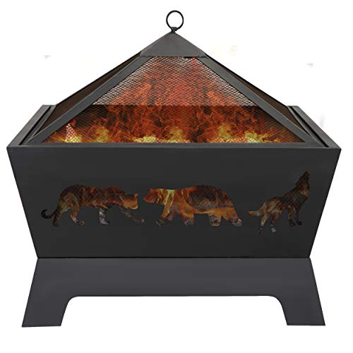 LEMY 26 Inch Outdoor Metal Stove Fire Pit Backyard Patio Capming Wood Burning Fireplace Geometric Shaped Steel Fire Pit wExtra Deep PitCover 0