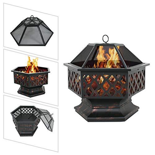 LEMY Hex Shaped Outdoor Fire Pit Wood Burning Fireplace Patio Backyard Heater Steel Firepit Bowl Heavy Steel 24 0