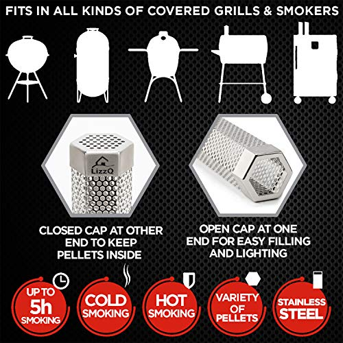LIZZQ Premium Pellet Smoker Tube 12 inches 5 Hours of Billowing Smoke for Any Grill or Smoker Hot or Cold Smoking Easy Safety and Tasty Smoking Free eBook Grilling Ideas and Recipes 0 2