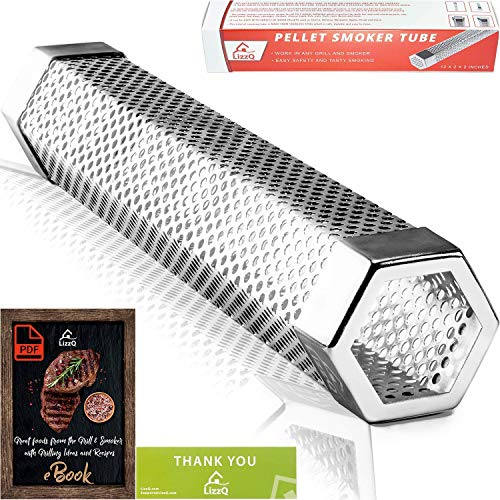 LIZZQ Premium Pellet Smoker Tube 12 inches 5 Hours of Billowing Smoke for Any Grill or Smoker Hot or Cold Smoking Easy Safety and Tasty Smoking Free eBook Grilling Ideas and Recipes 0