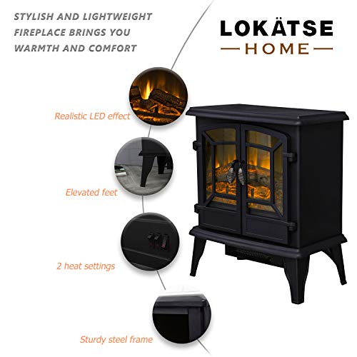 LOKATSE HOME 20 Electric Fireplace Space Stove Heater Freestanding with Realistic Flame 2 Heat Modes 1400W Ultra Strong Power Double doorsOverheating Safety Protection 20 inch 0 0