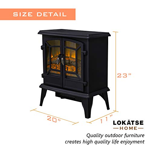 LOKATSE HOME 20 Electric Fireplace Space Stove Heater Freestanding with Realistic Flame 2 Heat Modes 1400W Ultra Strong Power Double doorsOverheating Safety Protection 20 inch 0 1