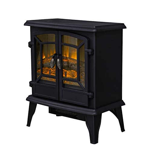 LOKATSE HOME 20 Electric Fireplace Space Stove Heater Freestanding with Realistic Flame 2 Heat Modes 1400W Ultra Strong Power Double doorsOverheating Safety Protection 20 inch 0 4