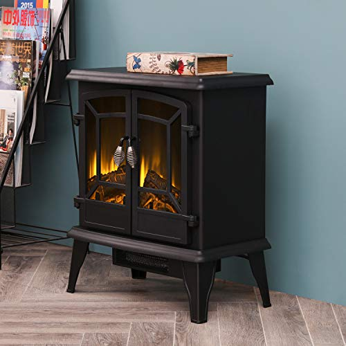 LOKATSE HOME 20 Electric Fireplace Space Stove Heater Freestanding with Realistic Flame 2 Heat Modes 1400W Ultra Strong Power Double doorsOverheating Safety Protection 20 inch 0 5