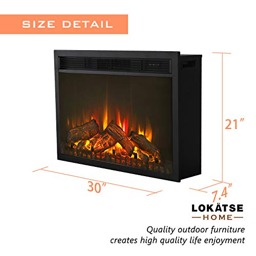 LOKATSE HOME 28 Inches Electric Fireplace Insert Heater Log with Realistic Flame Remote Control Over heating Protection Three speed adjustment 70010001400W Black 0 1