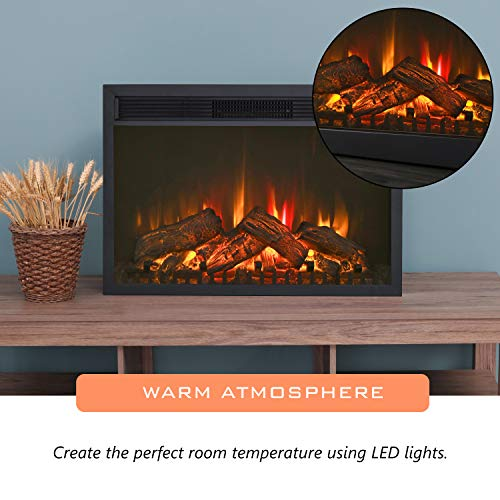 LOKATSE HOME 28 Inches Electric Fireplace Insert Heater Log with Realistic Flame Remote Control Over heating Protection Three speed adjustment 70010001400W Black 0 2