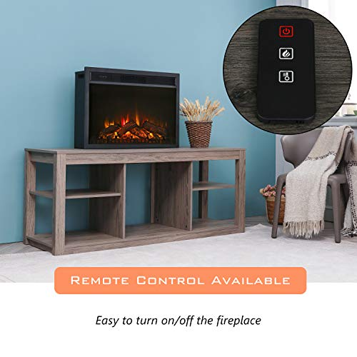 LOKATSE HOME 28 Inches Electric Fireplace Insert Heater Log with Realistic Flame Remote Control Over heating Protection Three speed adjustment 70010001400W Black 0 3