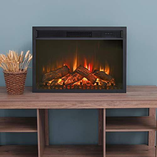 LOKATSE HOME 28 Inches Electric Fireplace Insert Heater Log with Realistic Flame Remote Control Over heating Protection Three speed adjustment 70010001400W Black 0
