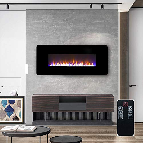 LOKATSE HOME 42 1400W Wall Mounted Freestanding Electric Fireplace Heater with Realistic LogsCrystal 7 Flame 3 Side Light Timer Thermostat Adjustable ManualRemote Control 42 inch 0 0