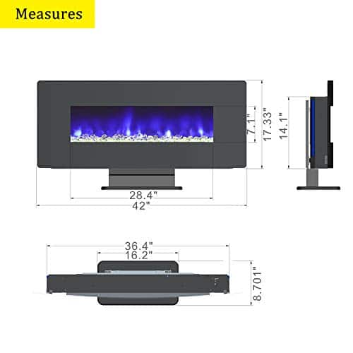 LOKATSE HOME 42 1400W Wall Mounted Freestanding Electric Fireplace Heater with Realistic LogsCrystal 7 Flame 3 Side Light Timer Thermostat Adjustable ManualRemote Control 42 inch 0 5