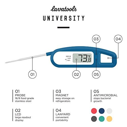 Lavatools PT12 Javelin Digital Instant Read Meat Thermometer for Kitchen Food Cooking Grill BBQ Smoker Candy Home Brewing Coffee and Oil Deep Frying Chipotle 0 5