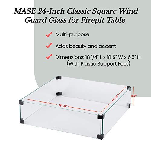 MASE 19 Inch Wind Guard Glass for Classic Square Outdoor Patio Propane Gas Fire Pit Table 0 0