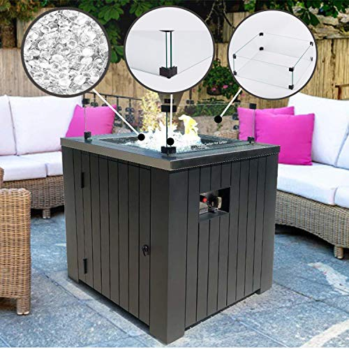 MASE 19 Inch Wind Guard Glass for Classic Square Outdoor Patio Propane Gas Fire Pit Table 0 4