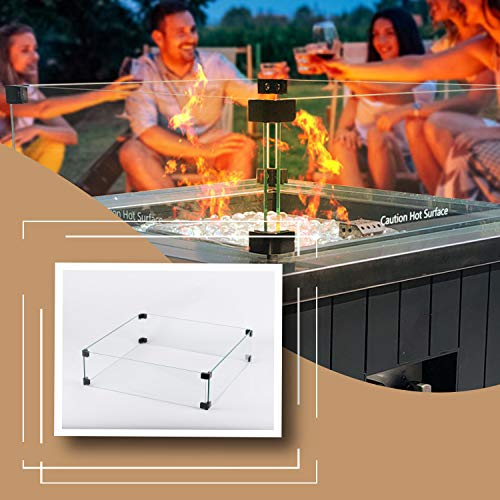 MASE 19 Inch Wind Guard Glass for Classic Square Outdoor Patio Propane Gas Fire Pit Table 0 5