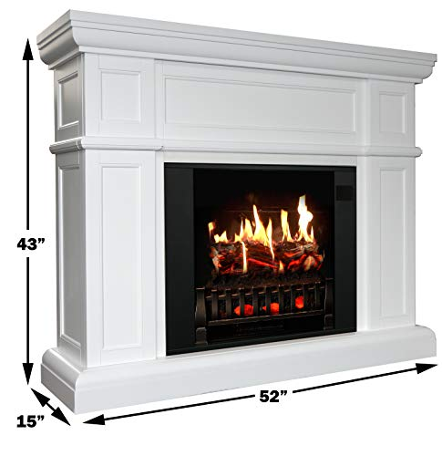 MagikFlame Electric Fireplace with Mantel Artemis White 30 Flames Large Freestanding 5200 BTU Heater Crackling Log Sound Bluetooth App New Home Design Remodels Family Atmosphere 0 0