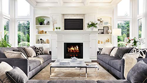 MagikFlame Electric Fireplace with Mantel Artemis White 30 Flames Large Freestanding 5200 BTU Heater Crackling Log Sound Bluetooth App New Home Design Remodels Family Atmosphere 0 3