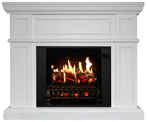 MagikFlame Electric Fireplace with Mantel Artemis White 30 Flames Large Freestanding 5200 BTU Heater Crackling Log Sound Bluetooth App New Home Design Remodels Family Atmosphere 0