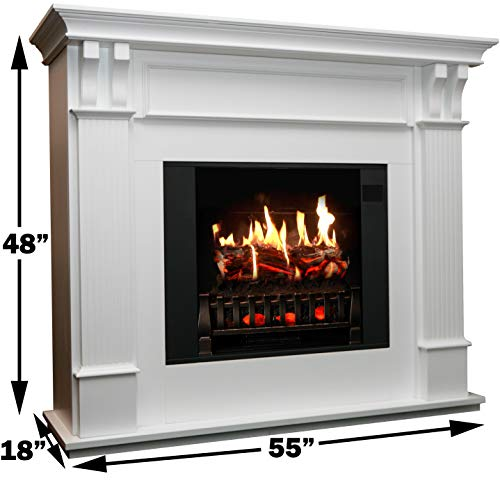 MagikFlame Electric Fireplace with Mantel Trinity White 26 Flames Large Freestanding 5200 BTU Heater Crackling Log Sound Bluetooth App New Home Design Remodels Family Atmosphere 0 0