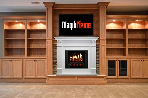 MagikFlame Electric Fireplace with Mantel Trinity White 26 Flames Large Freestanding 5200 BTU Heater Crackling Log Sound Bluetooth App New Home Design Remodels Family Atmosphere 0 2