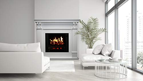 MagikFlame Electric Fireplace with Mantel Trinity White 26 Flames Large Freestanding 5200 BTU Heater Crackling Log Sound Bluetooth App New Home Design Remodels Family Atmosphere 0 3