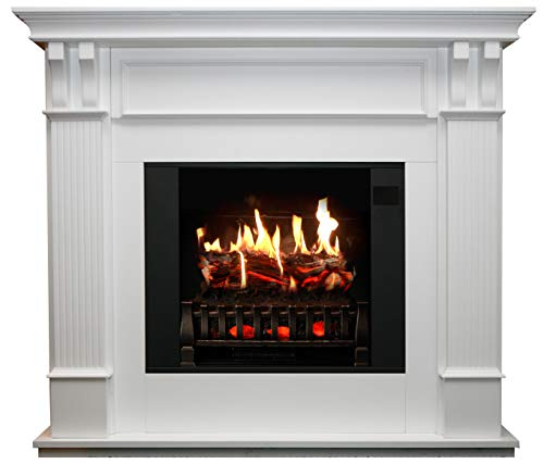 MagikFlame Electric Fireplace with Mantel Trinity White 26 Flames Large Freestanding 5200 BTU Heater Crackling Log Sound Bluetooth App New Home Design Remodels Family Atmosphere 0