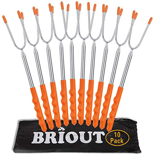 Marshmallow Roasting Sticks 10 Pack Extra Long 45 Stainless Telescoping Hot Dog Smores Skewers Kids Safe Barbecue Forks for Campfire Bonfire and Grill 0