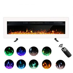 Maxhonor 40 Inches Electric Fireplace Insert Wall Mounted Freestanding Heater with Remote Control 1500750W White 0