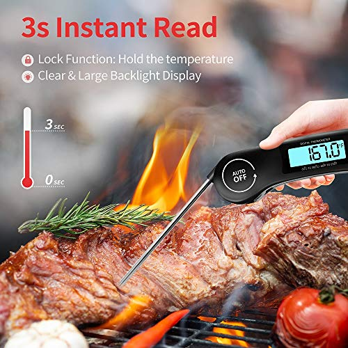 Meat Thermometer DOQAUS Instant Read Thermometer Digital Ultra Fast Kitchen Cooking Food Candy Thermometer with Backlight Magnet Foldable Long Probe for Grilling BBQ Turkey Oil Smoker Thermometer 0 1