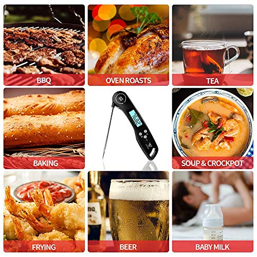 Meat Thermometer DOQAUS Instant Read Thermometer Digital Ultra Fast Kitchen Cooking Food Candy Thermometer with Backlight Magnet Foldable Long Probe for Grilling BBQ Turkey Oil Smoker Thermometer 0 3