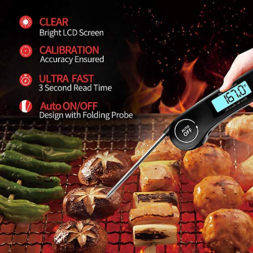 Meat Thermometer DOQAUS Instant Read Thermometer Digital Ultra Fast Kitchen Cooking Food Candy Thermometer with Backlight Magnet Foldable Long Probe for Grilling BBQ Turkey Oil Smoker Thermometer 0 4