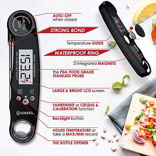 Meat Thermometer Digital Meat Thermometer Instant Read 2 Pack SOQOOL Instant Read Thermometer for Kitchen Cooking Food Candy Oil Deep Fry Outdoor BBQ Grill Smoker Ultra Fast and Waterproof 0 0