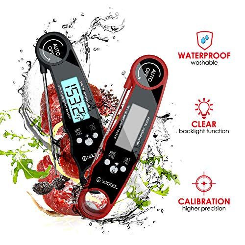 Meat Thermometer Digital Meat Thermometer Instant Read 2 Pack SOQOOL Instant Read Thermometer for Kitchen Cooking Food Candy Oil Deep Fry Outdoor BBQ Grill Smoker Ultra Fast and Waterproof 0 1