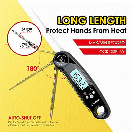 Meat Thermometer Digital Meat Thermometer Instant Read 2 Pack SOQOOL Instant Read Thermometer for Kitchen Cooking Food Candy Oil Deep Fry Outdoor BBQ Grill Smoker Ultra Fast and Waterproof 0 4