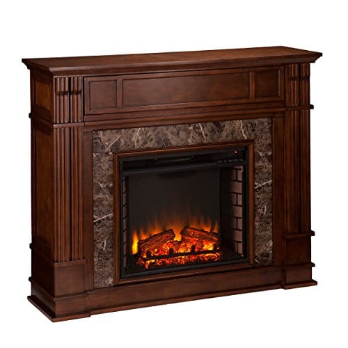 Media Electric Fireplace Faux Granite Finish Remote Control Mantel Space Heater 0 0