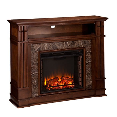 Media Electric Fireplace Faux Granite Finish Remote Control Mantel Space Heater 0 1