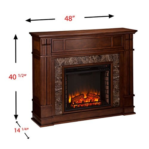 Media Electric Fireplace Faux Granite Finish Remote Control Mantel Space Heater 0 2