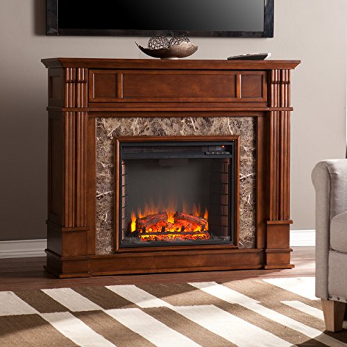 Media Electric Fireplace Faux Granite Finish Remote Control Mantel Space Heater 0 3