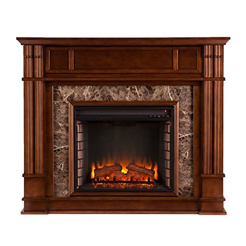 Media Electric Fireplace Faux Granite Finish Remote Control Mantel Space Heater 0