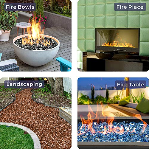 Mr Fireglass 12 Inch Reflective Fire Glass Cashew for Fireplace and Fire Pit Lanscaping 10 lb Amber 0 3