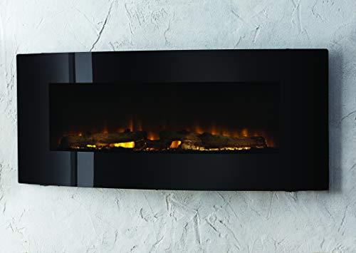 Muskoka 42 Contemporary Curved Front Slim Line Wall Mount Infrared Electric Fireplace Black Glass 0 0