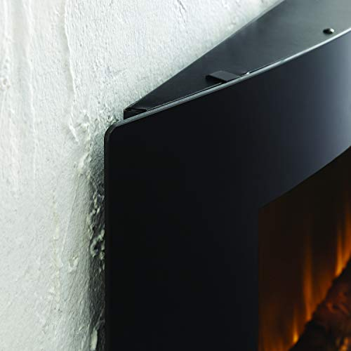 Muskoka 42 Contemporary Curved Front Slim Line Wall Mount Infrared Electric Fireplace Black Glass 0 1