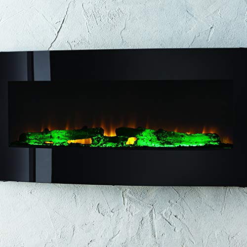 Muskoka 42 Contemporary Curved Front Slim Line Wall Mount Infrared Electric Fireplace Black Glass 0 5