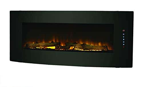 Muskoka 42 Contemporary Curved Front Slim Line Wall Mount Infrared Electric Fireplace Black Glass 0