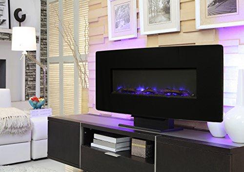 Muskoka Curved Front 36 Wall Mount Fireplace Black Glass 0 0