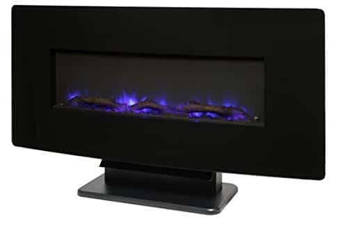 Muskoka Curved Front 36 Wall Mount Fireplace Black Glass 0