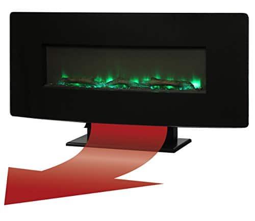 Muskoka Curved Front Black 42 Wall Mount Electric Fireplace Glass 0 1