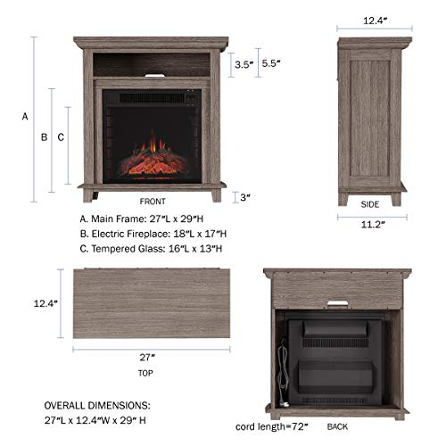 Northwest 80 FPWF 4 Electric Fireplace TV Stand 29 Freestanding Console with Shelf Faux Logs and LED Flames Space Heater Entertainment Center Gray 0 0