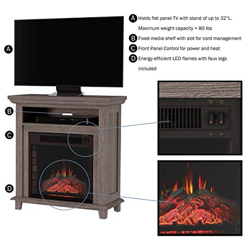 Northwest 80 FPWF 4 Electric Fireplace TV Stand 29 Freestanding Console with Shelf Faux Logs and LED Flames Space Heater Entertainment Center Gray 0 1