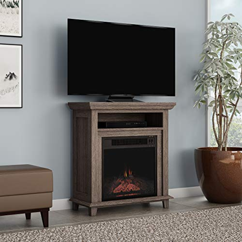 Northwest 80 FPWF 4 Electric Fireplace TV Stand 29 Freestanding Console with Shelf Faux Logs and LED Flames Space Heater Entertainment Center Gray 0 2