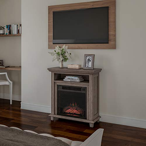 Northwest 80 FPWF 4 Electric Fireplace TV Stand 29 Freestanding Console with Shelf Faux Logs and LED Flames Space Heater Entertainment Center Gray 0 3